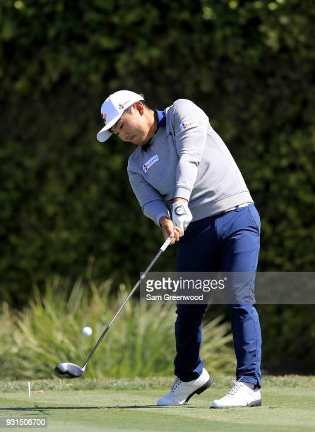Sung Kang of South Korea plays a shot during a practice round prior to the Arnold Palmer Invitational Presented By MasterCard at Bay Hill Club and...