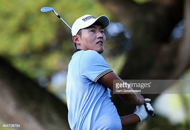 Sung Kang of South Korea plays a shot during practice rounds prior to the Sony Open In Hawaii at Waialae Country Club on January 12 2016 in Honolulu...