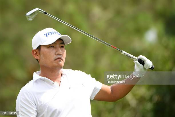 Sung Kang of South Korea plays his shot from the sixth tee during the final round of the 2017 PGA Championship at Quail Hollow Club on August 13 2017...
