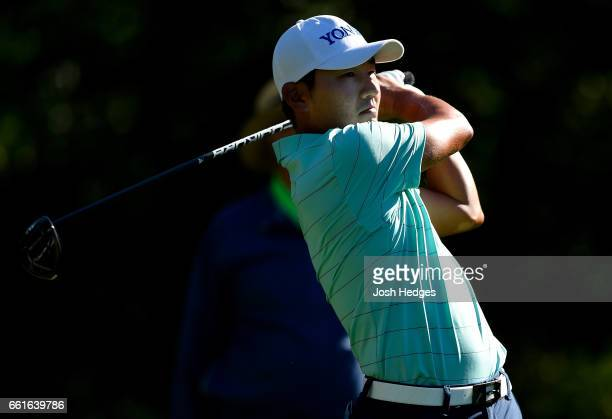 Sung Kang of South Korea plays his tee shot on the second hole during the second round of the Shell Houston Open at the Golf Club of Houston on March...