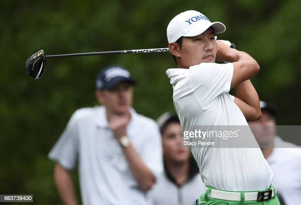 Sung Kang of South Korea plays his tee shot on the second hole during the final round of the Shell Houston Open at the Golf Club of Houston on April...