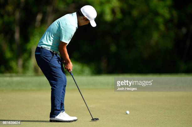 Sung Kang of South Korea putts for birdie on the second green during the second round of the Shell Houston Open at the Golf Club of Houston on March...