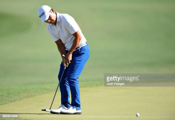 Sung Kang of South Korea putts on the 18th green during the first round of the Shell Houston Open at the Golf Club of Houston on March 30 2017 in...