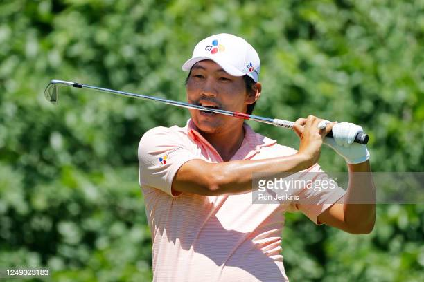 Sung Kang of South Korea reacts on the eighth hole during the first round of the Charles Schwab Challenge on June 11 2020 at Colonial Country Club in...