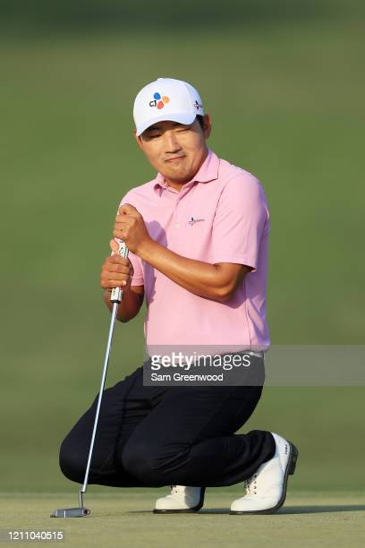 Sung Kang of South Korea reacts to a missed putt on the 15th green during the third round of the Arnold Palmer Invitational Presented by MasterCard...