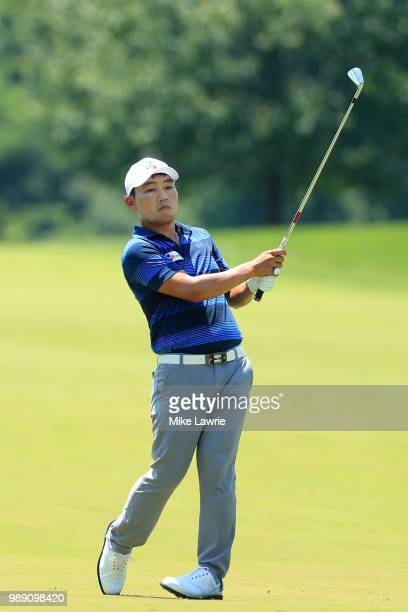 Sung Kang plays a shot on the second hole during the final round of the Quicken Loans National at TPC Potomac on July 1 2018 in Potomac Maryland