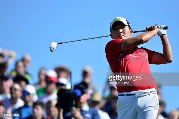 Sung Kang plays his tee shot on the 11th hole during the third round of the Waste Management Phoenix Open at TPC Scottsdale on February 4 2017 in...