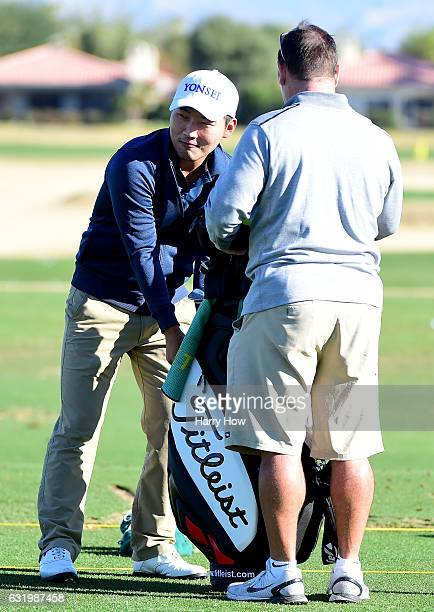 Sung Kang reaches into his bag during practice for the CareerBuilder Challenge at PGA West on January 18 2017 in La Quinta California