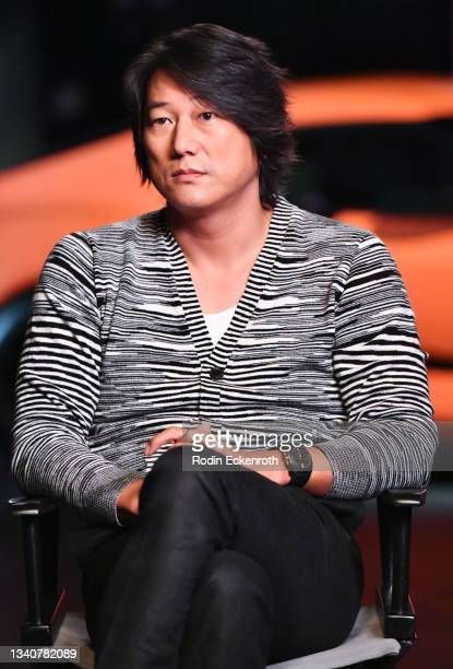 Sung Kang speaks during an interview at the F9 Fest event on the Universal Studios backlot celebrating F9: The Fast Saga on September 15, 2021 in...