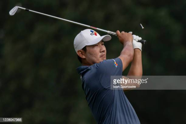 Sung Kang tees off on the 16th hole during the second round of the Wyndham Championship golf tournament at Sedgefield Country Club in Greensboro, NC...