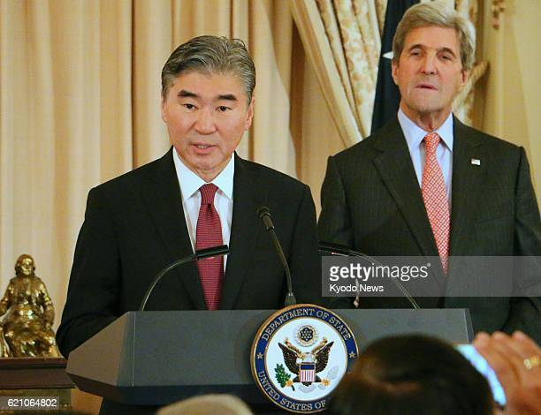 Sung Kim former US special representative for North Korea policy takes his oath of office for the new post of US ambassador to the Philippines at the...