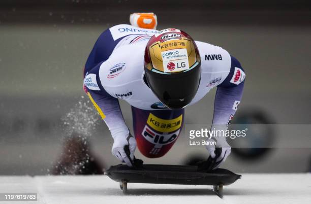 Sungbin Yun of Korea competes during the BMW IBSF Skeleton World Cup at Veltins Eis-Arena on January 05, 2020 in Winterberg, Germany.
