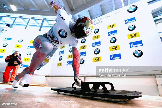 Sungbin Yun of Korea competes during the Men's Skeleton first run of the BMW IBSF World Cup at Deutsche Post Eisarena Koenigssee on January 28 2017...