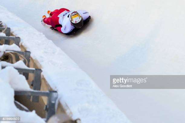 Sungbin Yun of Korea competes in the Men's Skeleton during the BMW IBSF Bobsleigh and Skeleton World Cup on November 18 2017 in Park City Utah