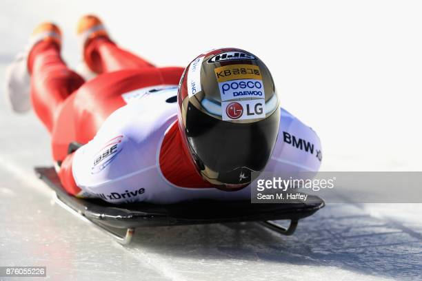 Sungbin Yun of Korea competes in the Men's Skeleton during the BMW IBSF Bobsleigh and Skeleton World Cup at Utah Olympic Park on November 18 2017 in...