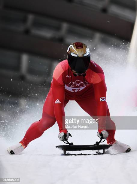 Sungbin Yun of Korea slides into the finish area after winning the Men's Skeleton at Olympic Sliding Centre on February 16 2018 in Pyeongchanggun...