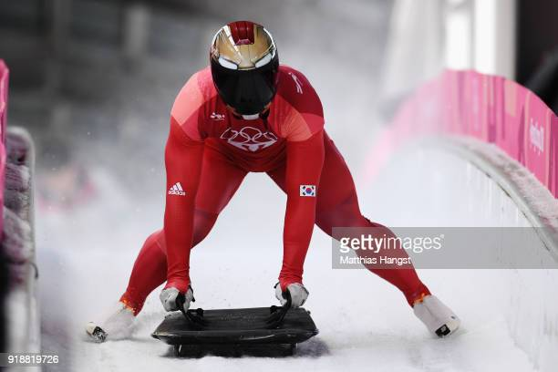 Sungbin Yun of Korea slides into the finish area as he wins the Men's Skeleton at Olympic Sliding Centre on February 16 2018 in Pyeongchanggun South...