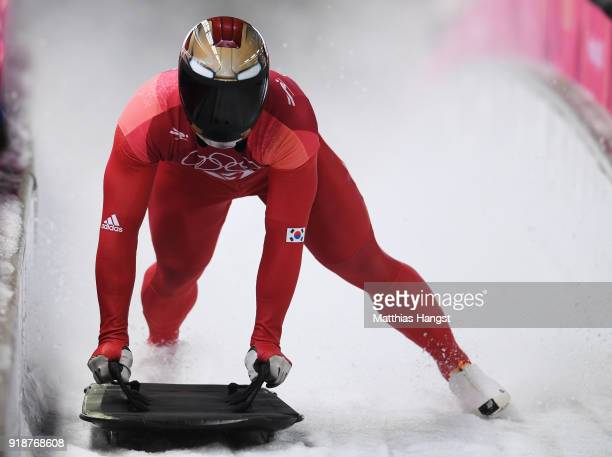 Sungbin Yun of Korea slides into the finish area during the Men's Skeleton heats at Olympic Sliding Centre on February 16 2018 in Pyeongchanggun...