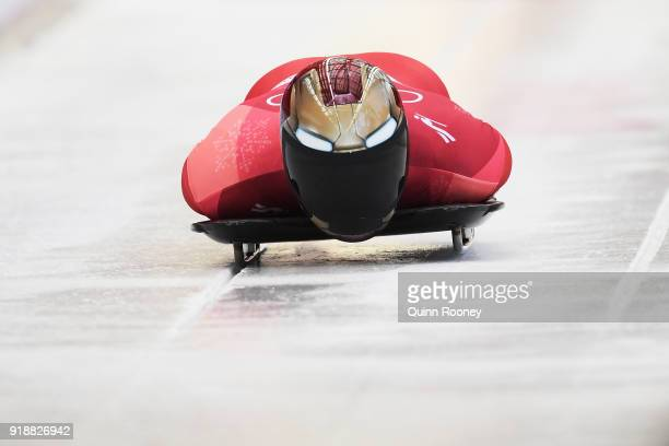 Sungbin Yun of Korea slides on his way to winning the Men's Skeleton at Olympic Sliding Centre on February 16 2018 in Pyeongchanggun South Korea