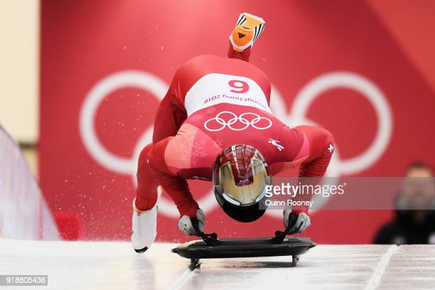 Sungbin Yun of Korea starts his final slide on his way to winning the Men's Skeleton at Olympic Sliding Centre on February 16 2018 in Pyeongchanggun...