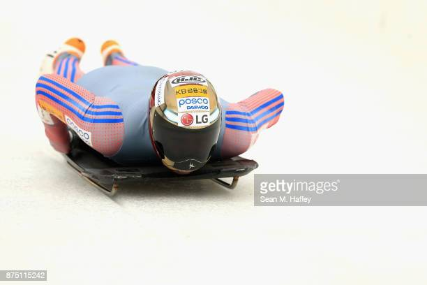 Sungbin Yun of Korea takes a training run in the Men's Skeleton during the BMW IBSF Bobsleigh Skeleton World Cup at Utah Olympic Park November 16...