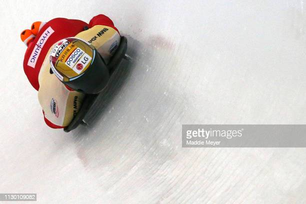 Sungbin Yun of South Korea slides during the first run of the Men's Skeleton on day 2 of the 2019 IBSF World Cup Bobsled & Skeleton at the Mount Van...