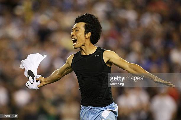 SungHwan Byun of Sydney celebrates after scoring the final penalty shootout goal for victory during the ALeague Grand Final match between the...