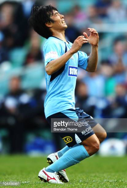 SungHwan Byun of Sydney looks dejected at the final whistle after Sydney draw with Gold Coast during the round eight ALeague match between Sydney FC...
