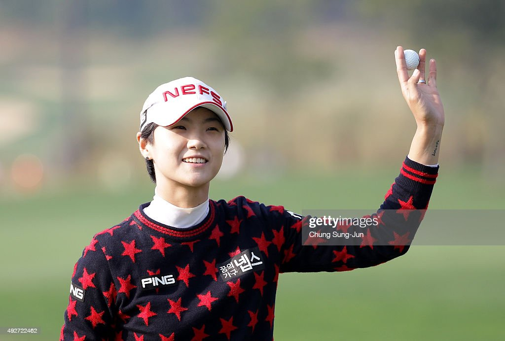 Sung-Hyun Park of South Korea reacts after a birdie putt on the 18th hole during the first round of LPGA KEB-HanaBank Championship at Sky 72 Golf Club Ocean Course on Ocober 15, 2015 in Incheon, South Korea.