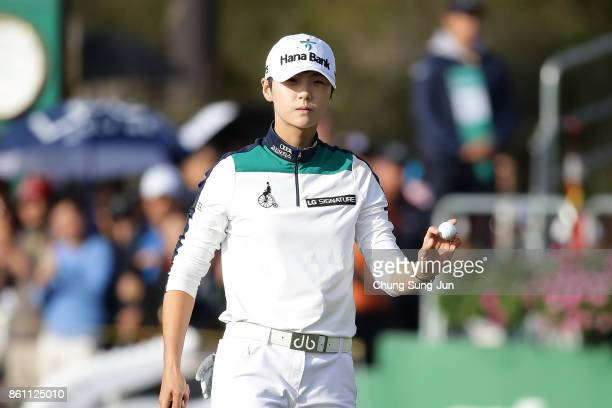 SungHyun Park of South Korea reacts after a putt on the 18th green during the third round of the LPGA KEB Hana Bank Championship at the Sky 72 Golf...