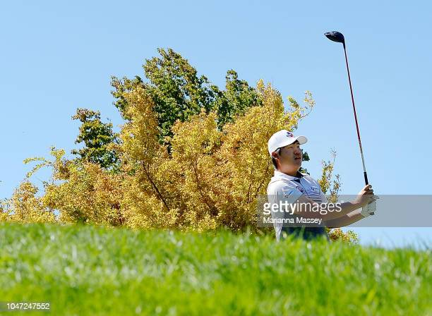 Sungjae Im of Korea plays his shot from the first tee during the final round of the Safeway Open at the North Course of the Silverado Resort and Spa...