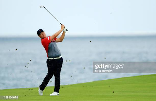 Sungjae Im of Korea plays his shot on the eighth hole during the second round of the Corales Puntacana Resort Club Championship on March 29 2019 in...