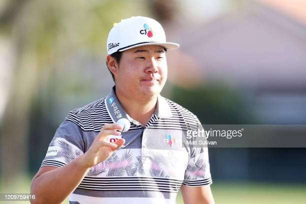 Sungjae Im of South Korea celebrates after making a birdie on the 15th hole during the Honda Classic at PGA National Resort and Spa Champion course...