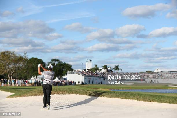Sungjae Im of South Korea hits his second shot on the 16th hole during the Honda Classic at PGA National Resort and Spa Champion course on March 01...