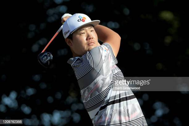 Sungjae Im of South Korea plays a shot on the 14th hole during the final round of the Honda Classic at PGA National Resort and Spa Champion course on...