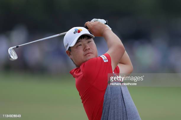 Sungjae Im of South Korea plays his second shot on the first hole during the final round of the Arnold Palmer Invitational Presented by Mastercard at...