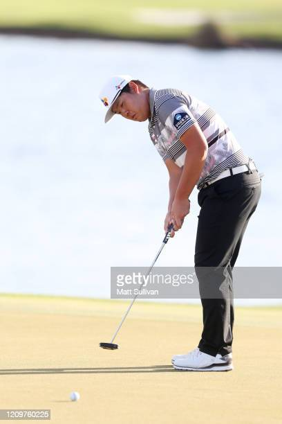 Sungjae Im of South Korea putts on the 16th hole during the Honda Classic at PGA National Resort and Spa Champion course on March 01 2020 in Palm...