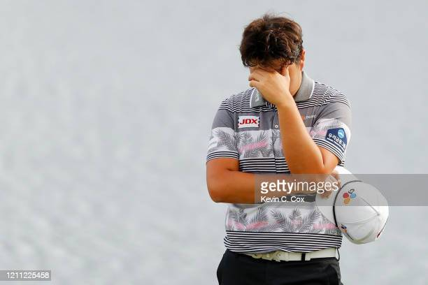 Sungjae Im of South Korea reacts on the 18th green during the final round of the Arnold Palmer Invitational Presented by MasterCard at the Bay Hill...