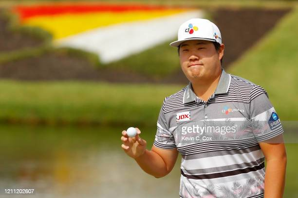 Sungjae Im of South Korea reacts on the eighth green during the final round of the Arnold Palmer Invitational Presented by MasterCard at the Bay Hill...