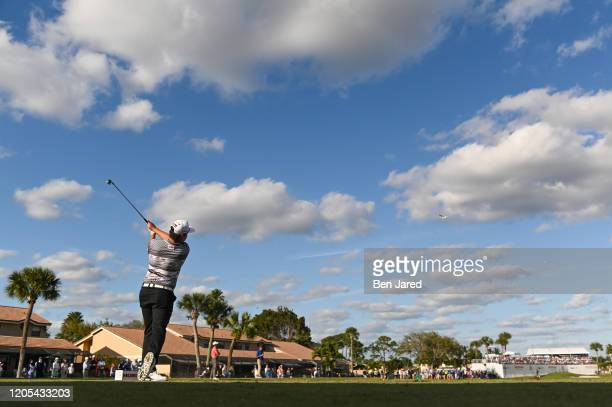 Sungjae Im of South Korea swings over his ball on the 15th tee during the final round of The Honda Classic at PGA National Champion course on March 1...