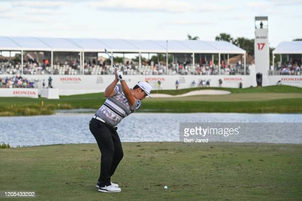 Sungjae Im of South Korea swings over his ball on the 17th tee during the final round of The Honda Classic at PGA National Champion course on March 1...