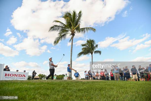 Sungjae Im of South Korea tees off on the 12th tee during the final round of The Honda Classic at PGA National Champion course on March 1 2020 in...