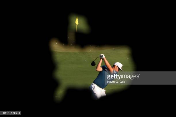 Sungjae Im of South Korea warms up on the range during a practice round prior to the Masters at Augusta National Golf Club on April 06, 2021 in...