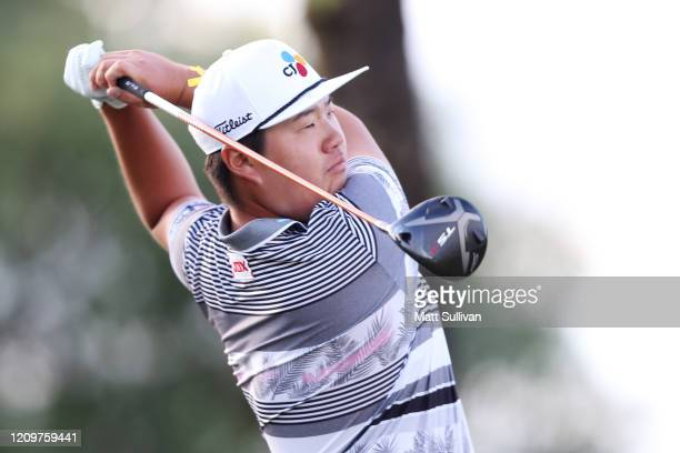 Sungjae Im of South Korea watches his tee shot on the 18th hole during the Honda Classic at PGA National Resort and Spa Champion course on March 01...