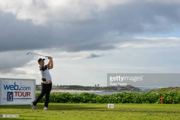 Sungjae Im plays his shot from the 13th tee during the first round of the Webcom Tour's The Bahamas Great Exuma Classic at Sandals Emerald Bay...