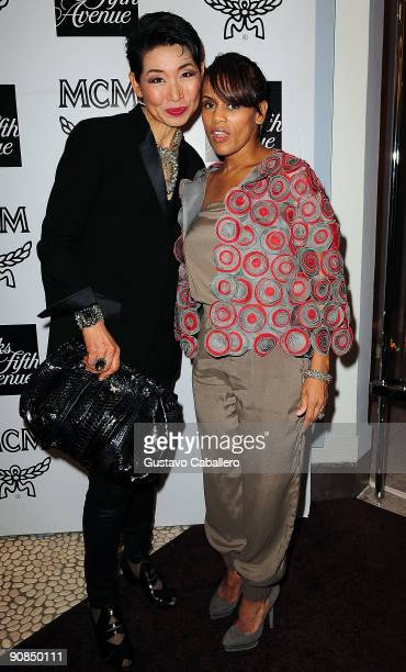 Sungjoo Group Chairperson SungJoo Kim and Kai Milla Morris wife of singer Stevie Wonder attends the MCM New York Collection Launch at Saks Fifth...