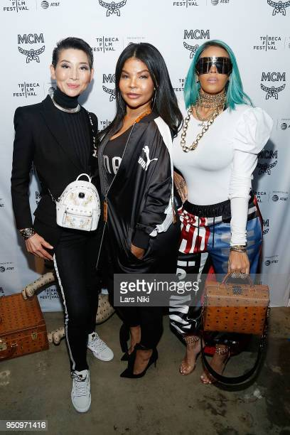 MCM CVO SungJoo Kim Misa Hylton and Talia Coles attend the 2018 Tribeca Studios and MCM Sneak Preview Of Women's Hip Hop At Public Hotel on April 24...