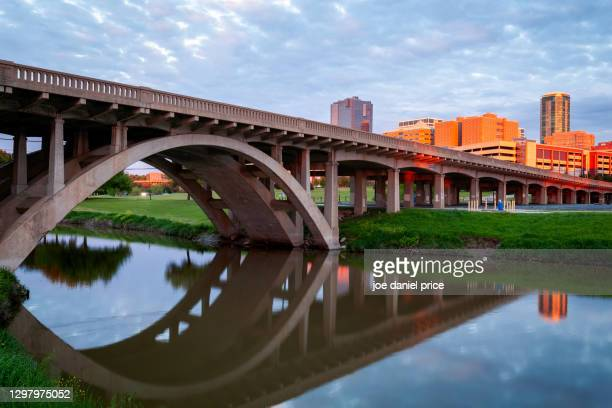 sunglow, north henderson street bridge, clear fork trinity river, fort worth, skyline, sunset, texas, america - trinity river texas stock pictures, royalty-free photos & images