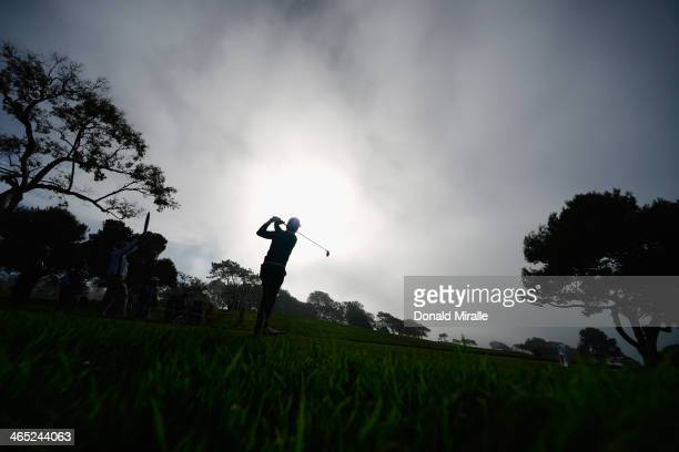 Sung-Moon Bae of South Korea hits a tee shot on the 2nd hole during the final round of the Farmers Insurance Open on Torrey Pines South on January...