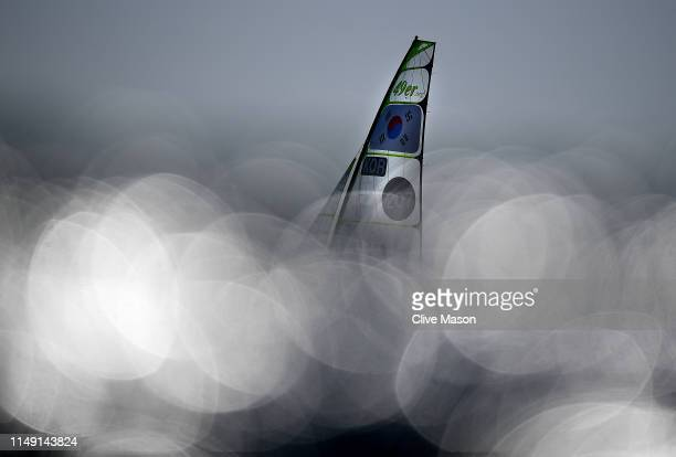 Sungwok Kim and Jinuk Lee of Korea in action during a 49er class race on May 14 2019 in Weymouth England